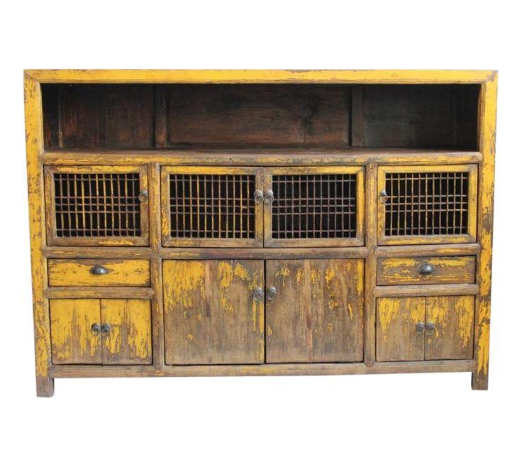 Antique Yellow Storage Cabinet on Chairish.com