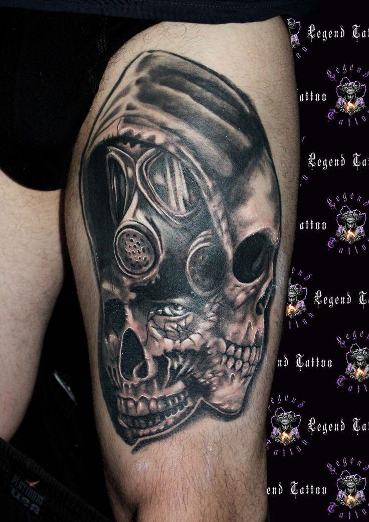 skull tattoo tattoo freak tattoo death tattoo horror tattoo gas mask. Black Bedroom Furniture Sets. Home Design Ideas