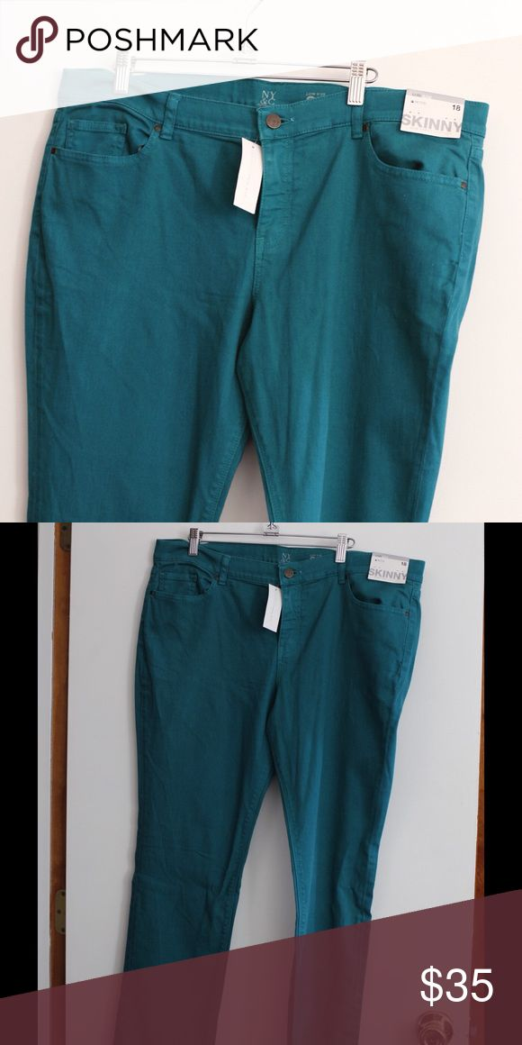 New York & Co teal skinny jeans New With Tags Teal skinny jeans. SUPER stretchy New York & Company Pants