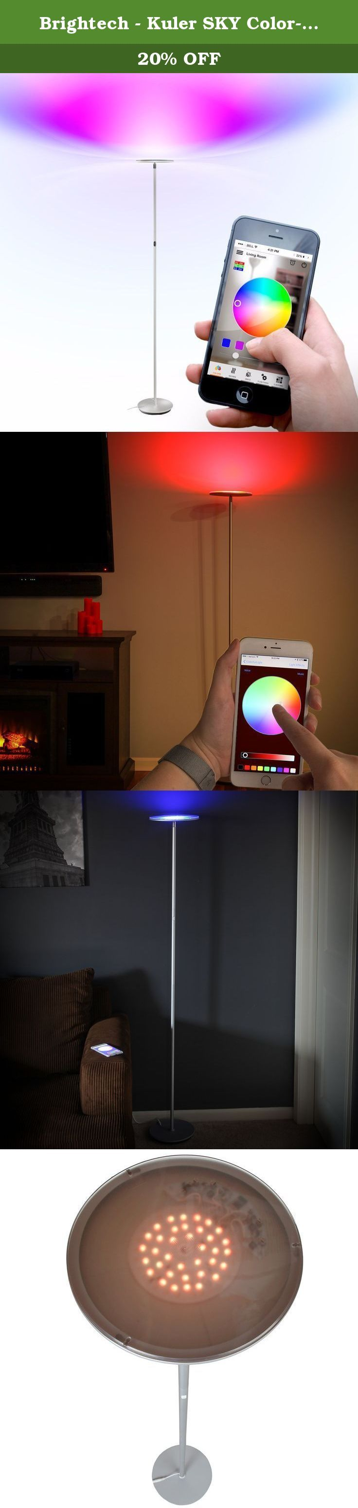 Brightech - Kuler SKY Color-Changing Floor Lamp - Omni-Directional Head - 30 Watts - Energy-Saving Built-in LED that's Bluetooth Compatible - Control with your iPhone or iPad! - Silver. Mesmerizing to watch, Brightech's Kuler SKY Color-Changing Floor Lamp with a rotating glass top casts an impressive glow in any direction. The Kuler SKY colors your world... in red, green, blue, violet, and thousands more. RGB color-changing LED lights can produce an endless kaleidoscope of enchanting new...