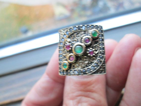 Estate Deco Rose Gold/925 Sterling Silver .50ctw Emerald, Ruby and White Sapphire Ring Size 6,  8 Grams