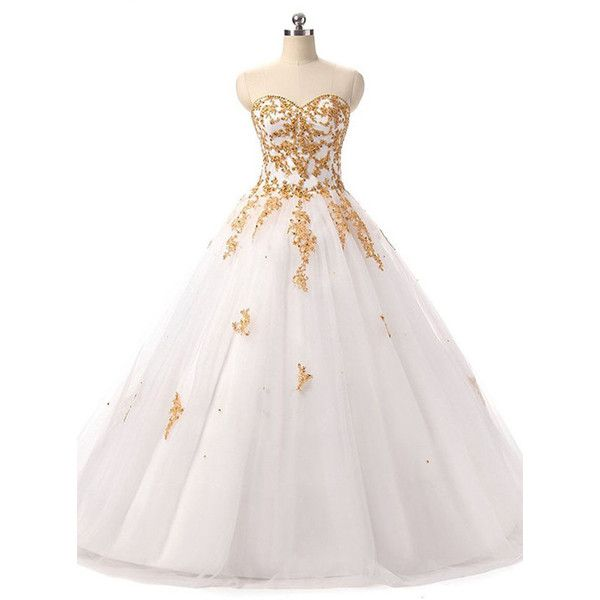 Ball Gown Sweetheart Tulle Floor Length Beading White Prom Dress ($189) ❤ liked on Polyvore featuring dresses, gowns, white ball gowns, sweetheart neckline prom dress, white gown, beaded prom dresses and prom dresses