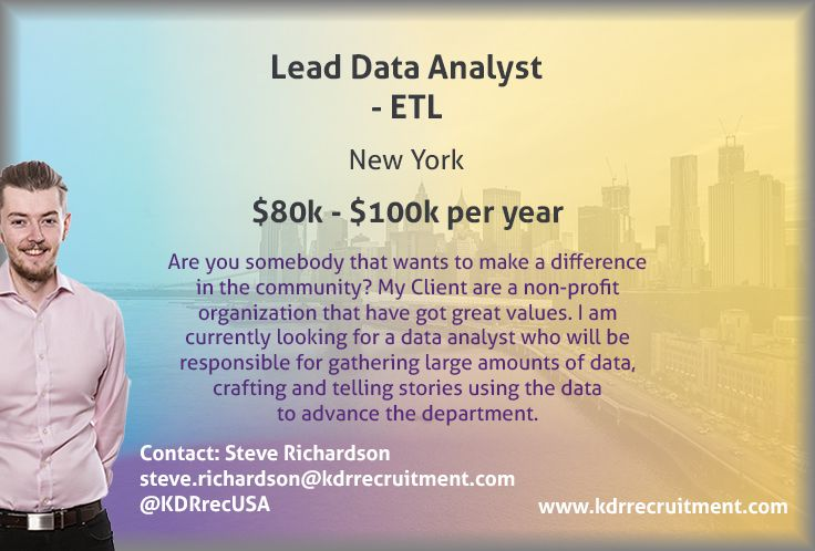 New Job Lead Data Analyst Needed In Newyork To Find Out More Contact Steve At Steve Richardson Kdrrecrui Data Analyst How To Find Out Business Intelligence