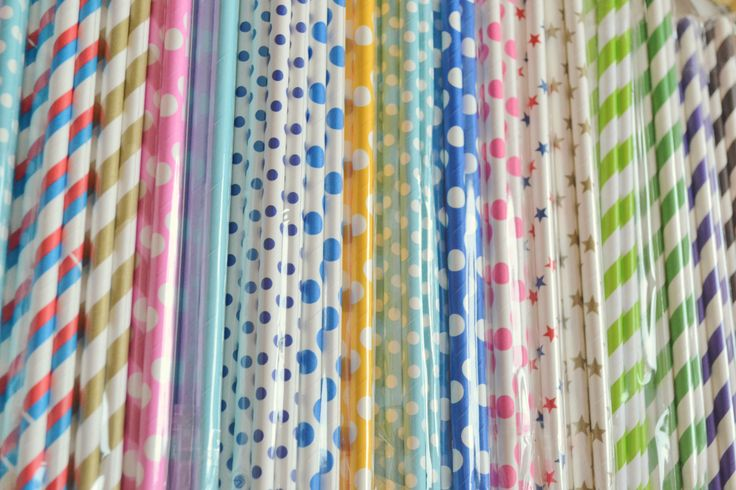 Straws.Beautiful,beautiful straws! we have them in our shop.all colors and patterns.excellent for a cute party :)
