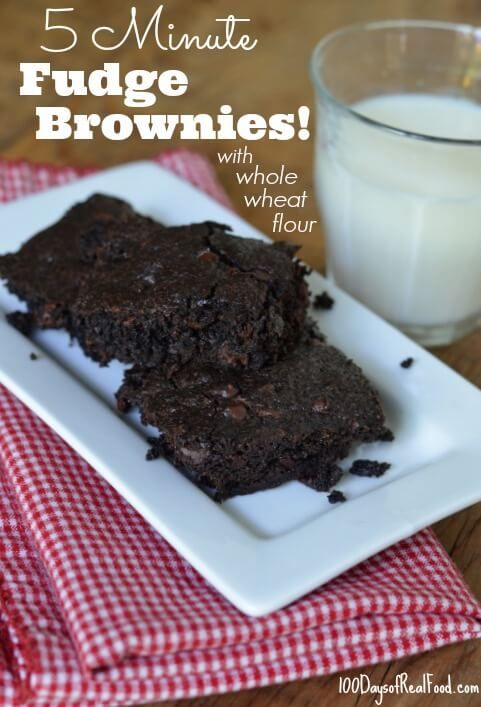 5 Minute Fudge Brownies from 100 Days of #RealFood not gf,  though could sub flour