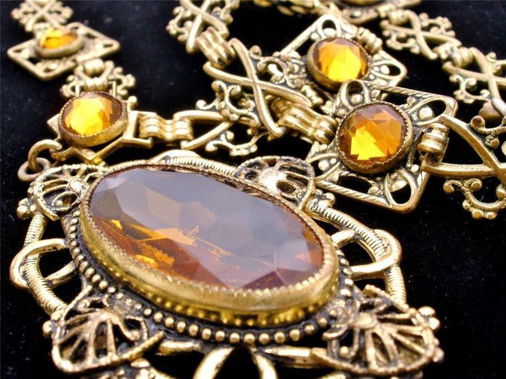 Antique Czech Glass Lavalier Necklace GF Rose Cut Citrine Yellow Art Nouveau | eBay