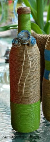 crafts twine wrapped bottles, crafts, diy, home decor