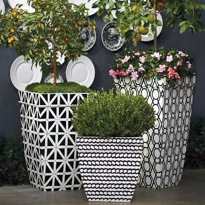 Contemporary graphics give our Madison Planters dynamic presence outdoors. Constructed of a durable polyester resin composite, these gently tapered and lined planters create pleasing aesthetics in patio and garden areas. Contemporary graphics Tapered box-style planter with lipped rimCrafted of polyester resin, styrene and fiberglassIncludes protective inside liner for potted plants	Planters hold 5-10 lbs. of soil, depending on size Ideal for sun rooms, patios and garden areasDrain hole ce...