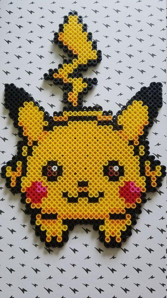 Large Pikachu Perler Bead Manget Bead Large Magnet Manget Perler Pikachu Basteln Bugelperlen Bugelperlen Hama Perlen Muster