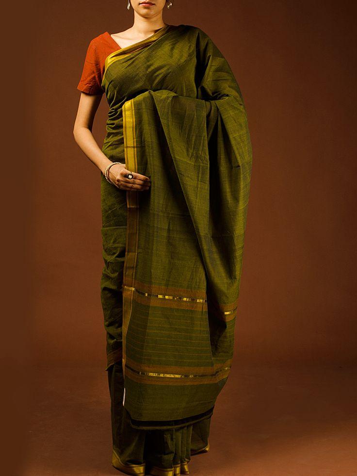 Green Cotton Mangalgiri Saree Available At http://www.eindianaugust.com/sarees/cotton-sarees