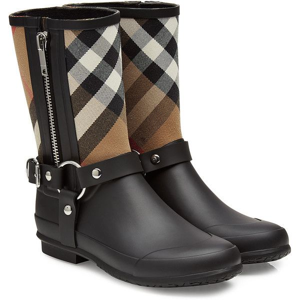Burberry Shoes & Accessories Rubber Rain Boots ($260) ❤ liked on Polyvore featuring shoes and boots