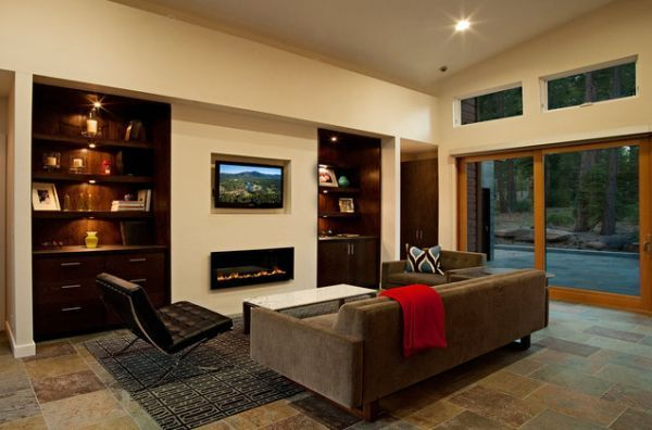 Simple living room fireplace built in fireplace inserts modern fireplaces and fireplaces - Contemporary fireplace insert for a warm living room ...