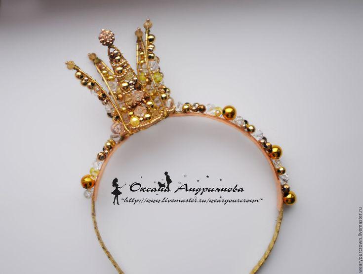 Купить Золотая корона на ободке. Ободок из бусин. Корона из проволоки. - золотой, корона, корона на ободке