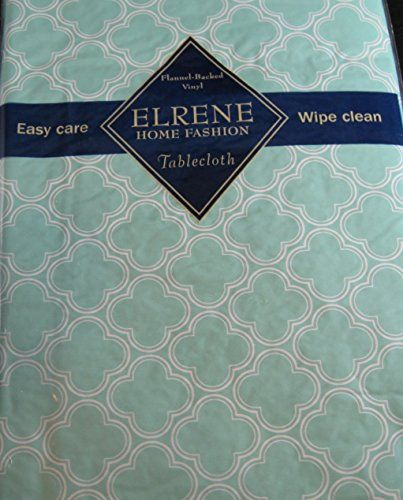 Flannel Backed Vinyl Tablecloths By Elrene  Light Aqua Geometric Clovers   Assorted Sizes   Oblong And Round X 90 Oblong)