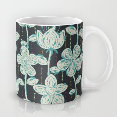 My grey spotted flowers. Mug by Juliagrifol designs - $15.00#flowers#design#pattern#coffee#kitchen#home#society6