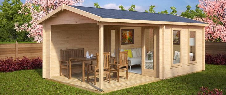 Sommer, Garten, Gartenhaus mit Terrasse …