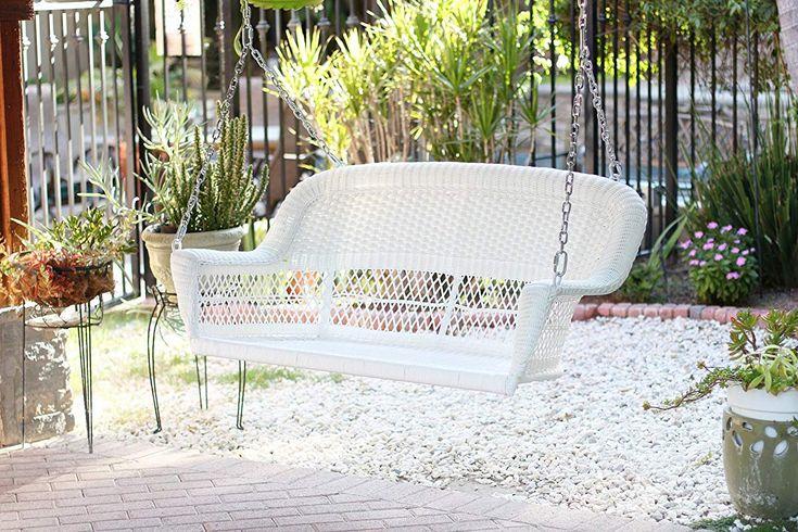 Jeco W00206SB Resin Wicker, White Wicker porch swing