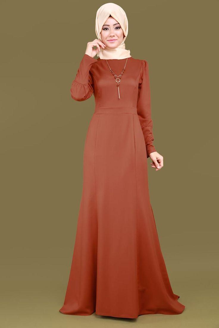Kolyeli Peplum Tesettür Elbise Kiremit Ürün kodu: BİSS4186 --> 84.90 TL
