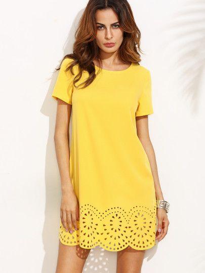 Robe manche courte avec tissu ajouré - jaune