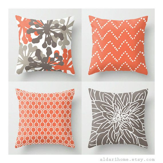modern coral and brown pillows set of 4 pillow by aldarihome