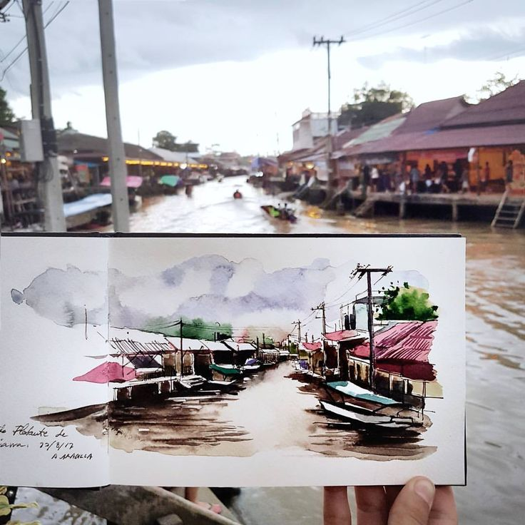 Alicia Aradilla (@a.aradilla) в Instagram: «Amphawa Floating Market at sunset. Today I will go to Chiang Mai. New adventures are coming! …» #aquarell #art #painting #watercolor #sketch  #paint  #drawing #sketching #sketchbook #travelbook #archisketcher #sketchaday #sketchwalker #sketchcollectoпr #artbook #artjournal #traveldiary #topcreator #usk #urbansketchers #urbansketch #скетчбук #скетч #скетчинг #pleinair #aquarelle #watercolorsketch #usk #architecture #topcreator