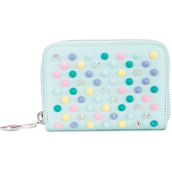 Christian Louboutin Christian Louboutin Studded Coin Purse (15.870 RUB) ❤ liked on Polyvore featuring bags, wallets, green, multi coloured bags, coin pouch, studded leather wallet, multicolor bag and blue wallet