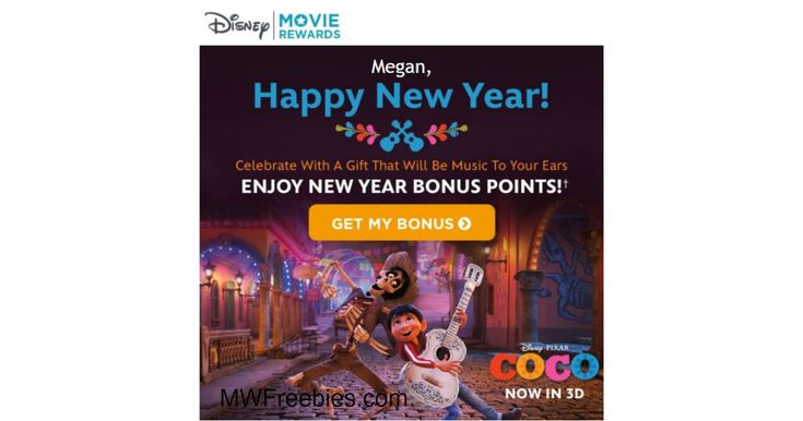 "Mystery Bonus Disney Movie Rewards Points! I Received 18 Points! -    Mystery Bonus Disney Movie Reward Points! If you are a Disney Movie Rewards Member, Check Your Email for an Email Titled,"" Happy New Year"". I Received 18 Points! Open the Email  and Click Where Will See Where it Says, Get My Bonus"". To enter your Bonus Points, you must ... - http://www.mwfreebies.com/2018/01/01/mystery-bonus-disney-movie-rewards-points-i-received-18-points/"
