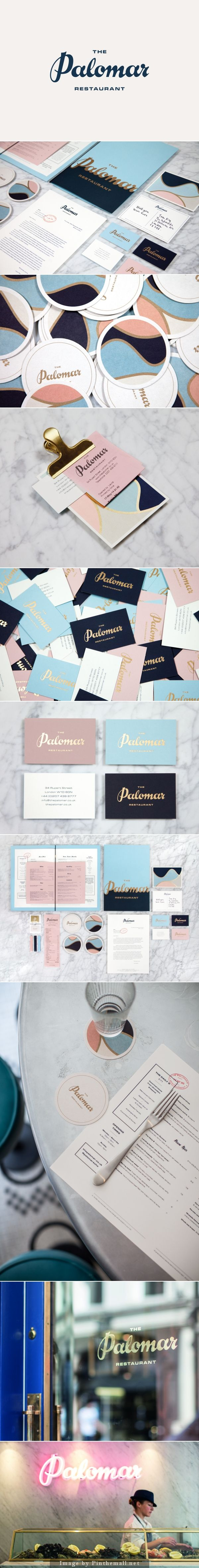 Corporate Design für Restaurant The Palomar / Goldprägung Text and colour palette