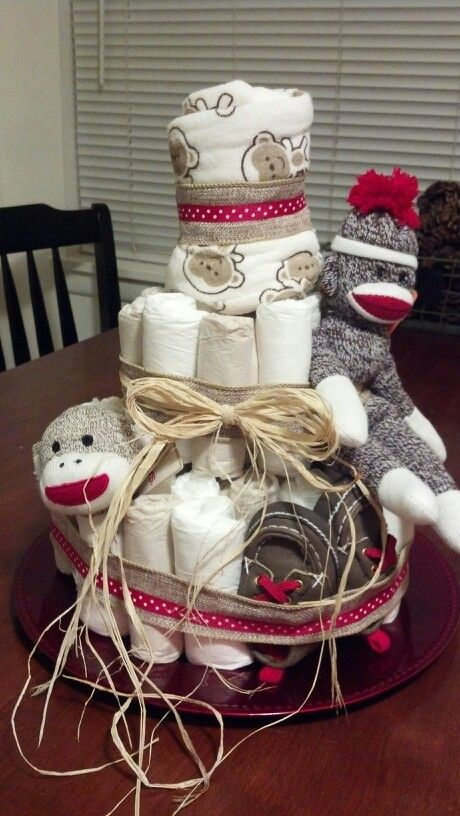 Sock monkey diaper cake for a baby boy!