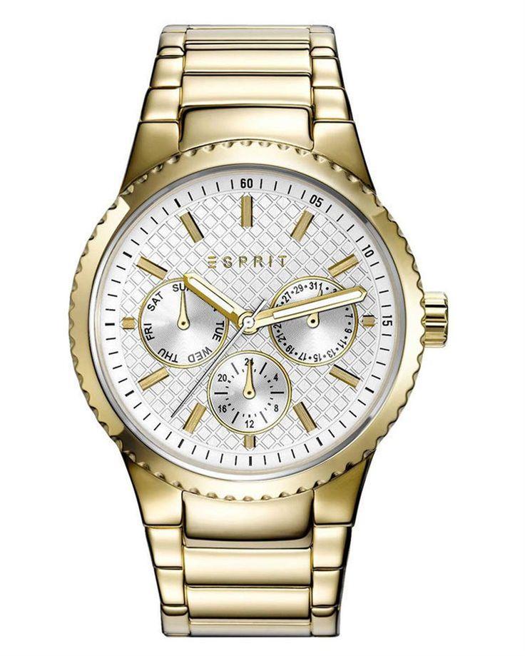 Από τον οίκο Esprit ένα ρολόι από χρυσό ανοξείδωτο ατσάλι ασημί καντράν