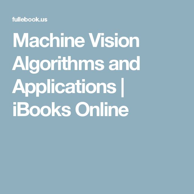 Machine Vision Algorithms and Applications   iBooks Online