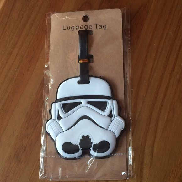 "Star Wars Stormtrooper Luggage Tag Give your bag a distinct look! Detailed & unique white Stormtrooper helmet luggage tag/name plate. Back of tag has place to write name & address. Approximately 6"" L x 3.5"" W. Silver & bronze Darth Vader helmet ring & Darth Vader necklace also available in closet. Please ask if you have questions. Accessories"