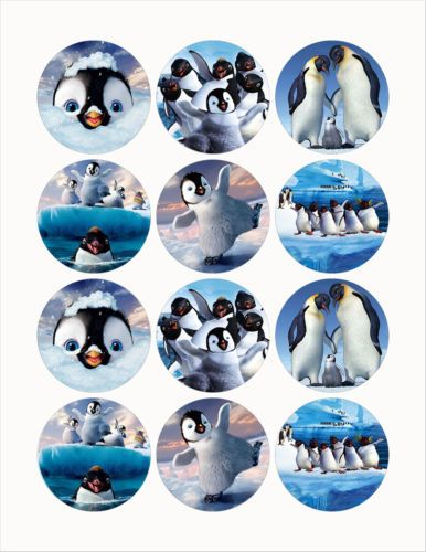 "Happy Feet 2 25"" Edible Image Cup Cake Toppers 12pcs Cut Paste No Peel 