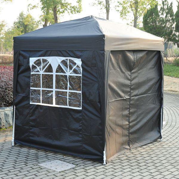 H4home Garden Outdoor Small Pop Up Gazebo 2x2 Canopy Black Black