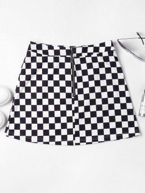 17444a04aa Zip Front Checkered Skirt - Black S | ZAFUL | Checkered skirt, Skirt ...