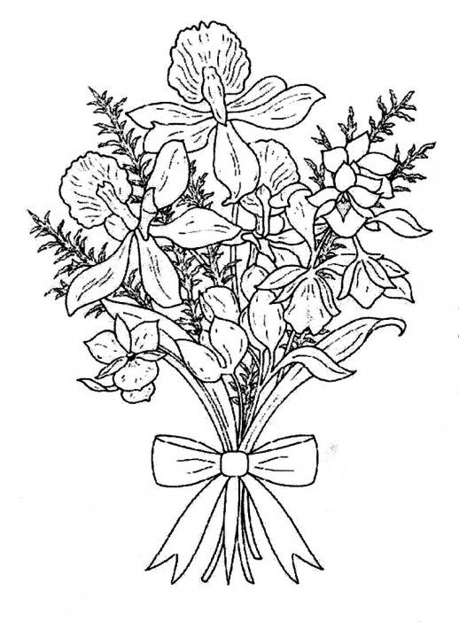 Pretty Bouquet Flower For The Loving One Coloring Pages