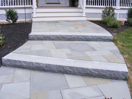 Monolithic Granite Step With Random Rectangular Bluestone
