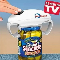 A one touch battery operated jar opener allows a person with the use of only one arm to open a jar with the use of one finger.