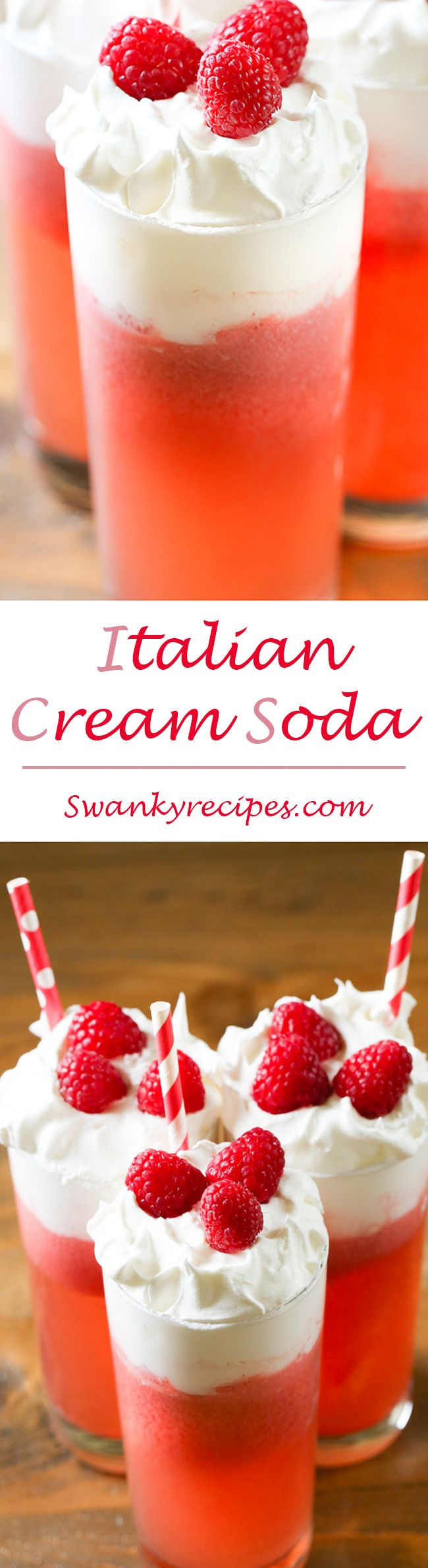 Italian Cream Soda - A fizzy drink made with club soda, raspberry syrup, pineapple juice and cream.  The classic drink recipe to share with friends this summer. ad
