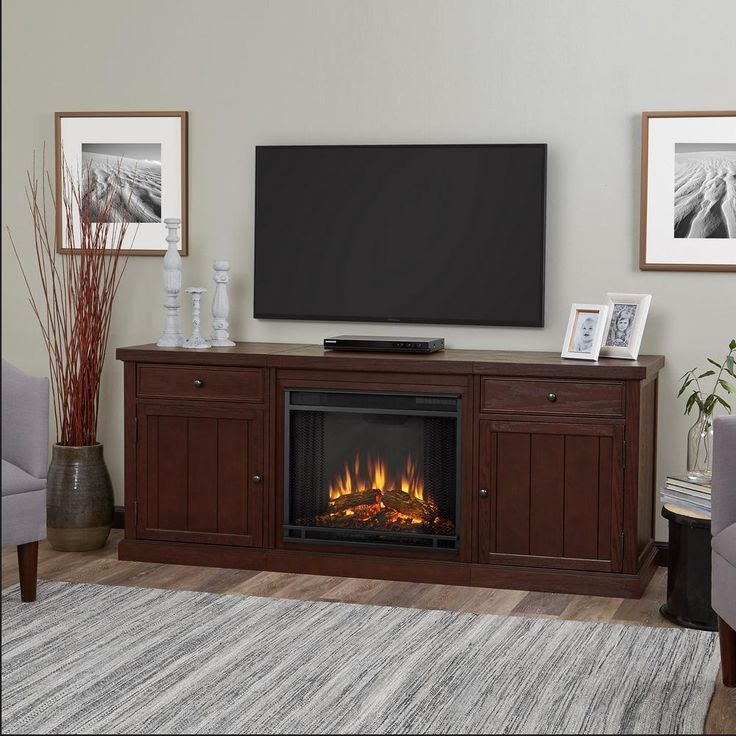 Cassidy 69 in. Entertainment Center Electric Fireplace in Chestnut Oak
