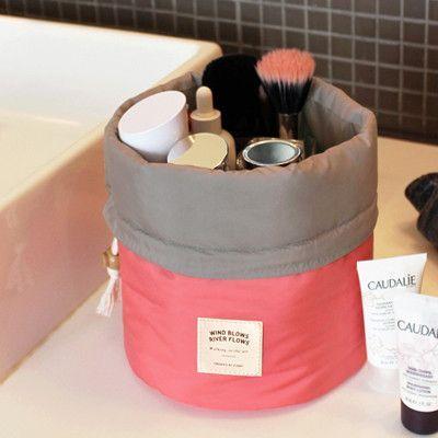 New Arrival Barrel Shaped Travel Cosmetic Bag Nylon High Capacity Drawstring Elegant Drum Wash Bags Makeup Organizer Storage Bag