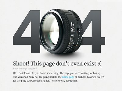 404 Page for a Photography site  by Derek Clark