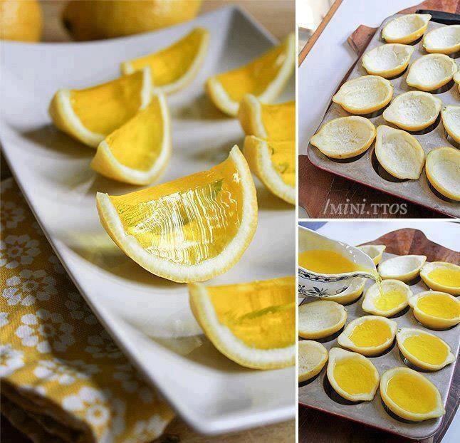 Gelatina de limão, no limão