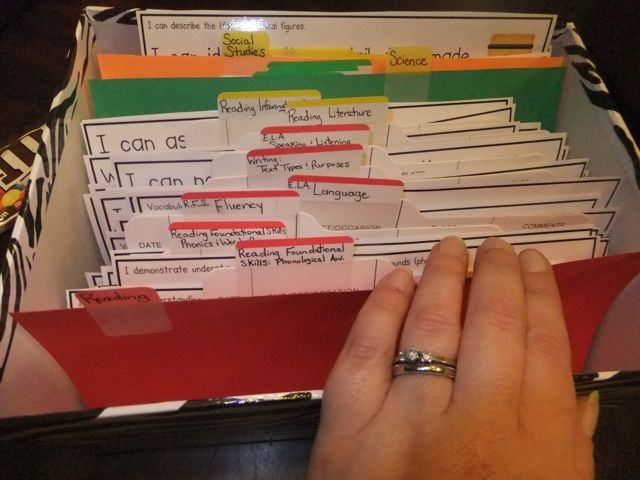 First Grade Blue Skies: Common Core Organization-how to organize the common core posters from Deanna Jump