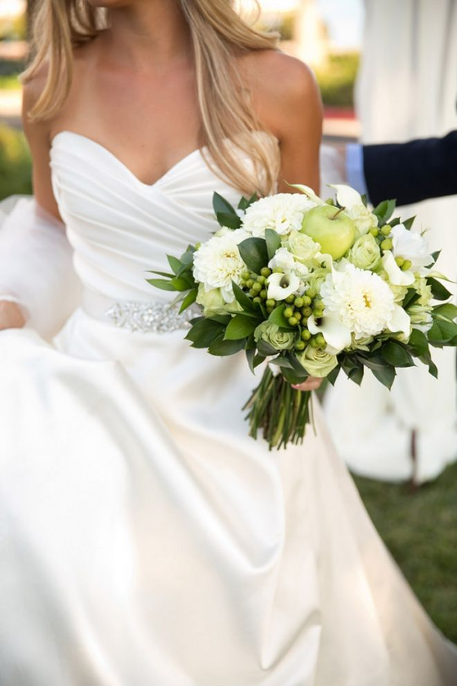Gorgeous White and Green Bridal Bouquet with Apples | Chic Nautical Styled Wedding Shoot by Colorful Snapshots Photography
