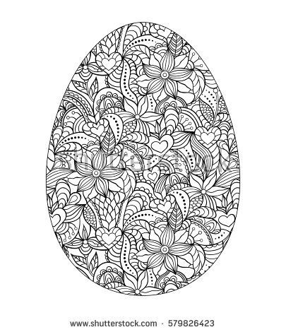 Abstract easter egg on white background. Coloring page for