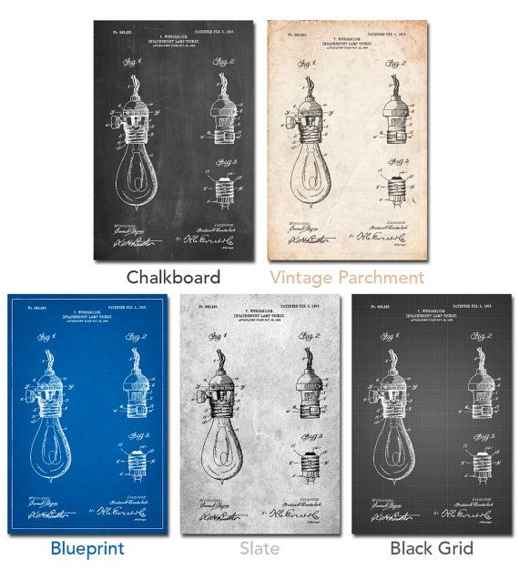 Incandescent Lamp Socket Patent Poster Hipster Decor