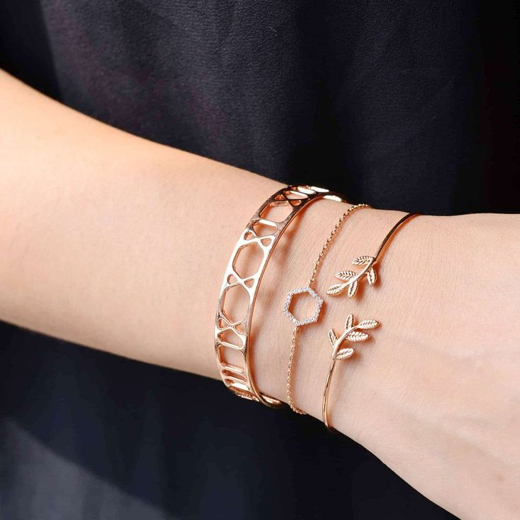Hexagone Diamanté Rose Gold Bracelet
