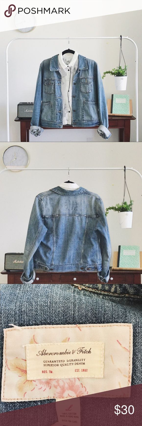 • Jean Jacket • This is a Large and I wear a size Small so this will fit a variety of sizes depending if you want it more fit or oversized. Used but well taken care of. This has a very comfortable fit meaning it's not very stiff. I love this jacket for it's front pockets, I just have so many jean jackets, I just need one good one. This jean jacket would go well with neutral white black or light brown colors. Abercrombie & Fitch Jackets & Coats Jean Jackets