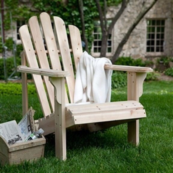 Description You'll find it easy to relax when you have this Unfinished Asian Fir Wood Adirondack Chair with Contoured Seat and Wide Armrests waiting for you to come home and to...